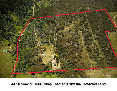 Aerial View of Base Camp Tasmania New Norfolk and it's protected land