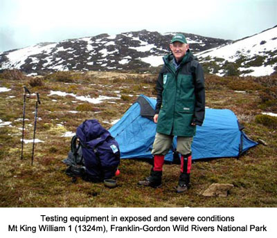 Tasmanian Wilderness Experiences Hire Equipment - Graham McLean testing hiking equipment