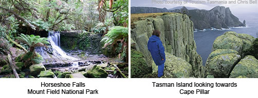 Horseshoe Falls, Mount Field National Park and Tasman Island looking towrads Cape Pillar